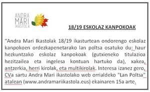 LAN POLTSA - ESKOLAZ KANPOKOAK 18/19